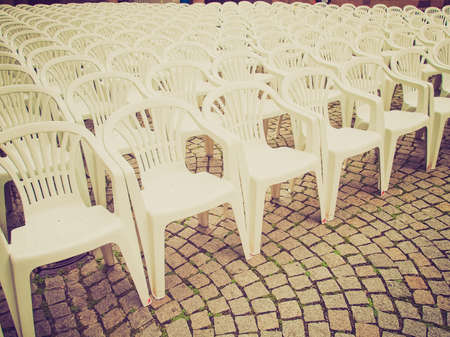 alfresco: Vintage looking Rows of chairs for outdoor dehors alfresco bar and live gig concert open air events