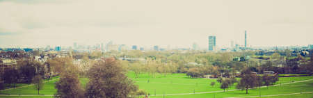 Vintage looking Panoramic view of London skyline seen from Primrose Hill