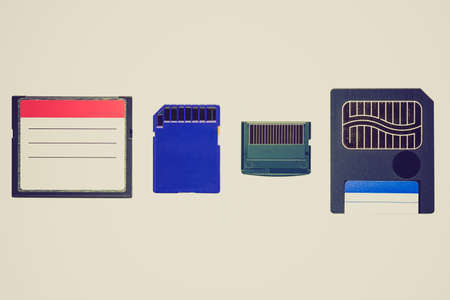 digital memory: Vintage looking Different types of digital memory cards for cameras