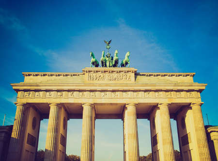 Vintage looking Brandenburger Tor (Brandenburg Gate), famous landmark in Berlin, Germany