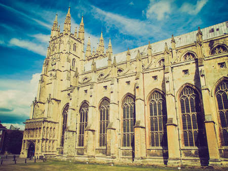 canterbury: Vintage looking The Canterbury Cathedral in Kent England UK