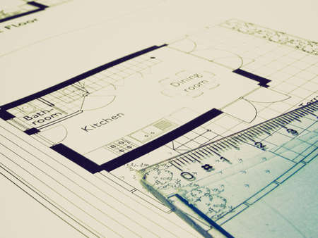 cad drawing: Vintage looking Technical architectural CAD drawing picture Stock Photo