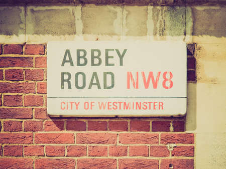 Vintage looking Abbey Road street sign, NW8, London, England, UK photo