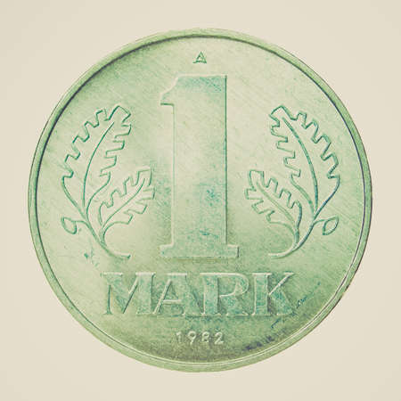 marx: Vintage looking 1 Mark coin from the DDR (East Germany) - Note: no more in use since german reunification in 1990