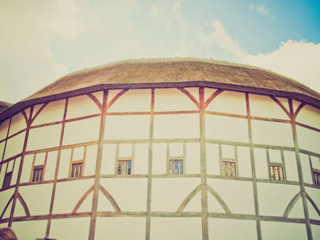 Vintage looking The ancient Shakespeare Globe Theatre in London, UK