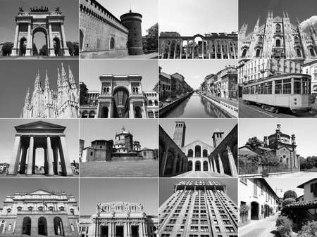 ticinese: Vintage retro looking Famous landmarks and monuments collage in Milan, Italy Editorial