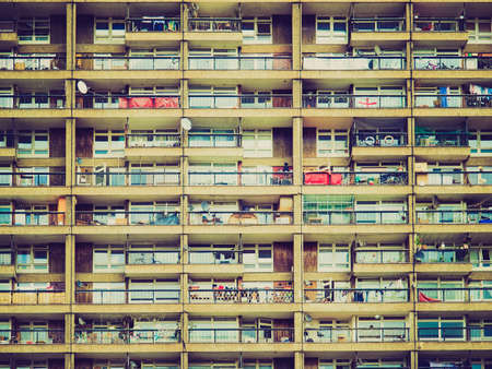 rationalist: Vintage looking Trellick Tower iconic sixties new brutalist architecture