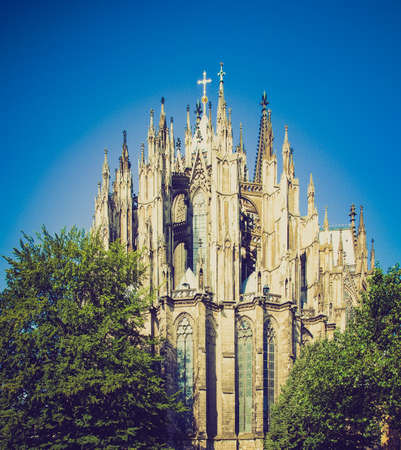 rectilinear: Vintage looking Koelner Dom, gothic cathedral church in Koeln (Cologne), Germany - rectilinear frontal view Stock Photo