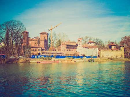 po: Vintage looking Castello Medievale medieval castle, Turin, Italy