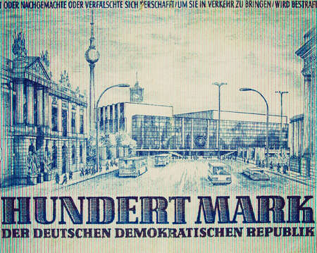 marx: Vintage looking Detail of a 100 Mark banknote from the DDR (East Germany)  - Note: no more in use since german reunification in 1989