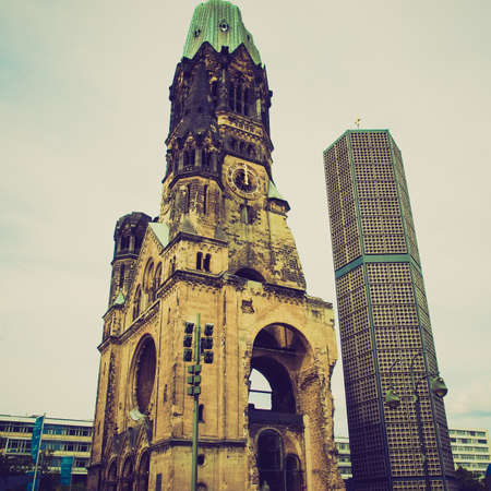 allied: Vintage looking Ruins of Kaiser Wilhelm Memorial Church in Berlin, destroyed by Allied bombing and preserved as memorial