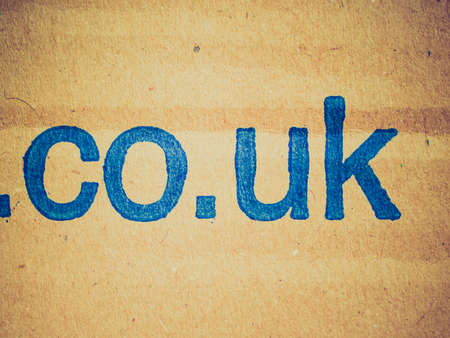 url: Vintage looking UK national domain in a web site url
