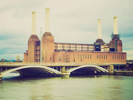 Vintage looking Battersea Power Station in London, England, UK