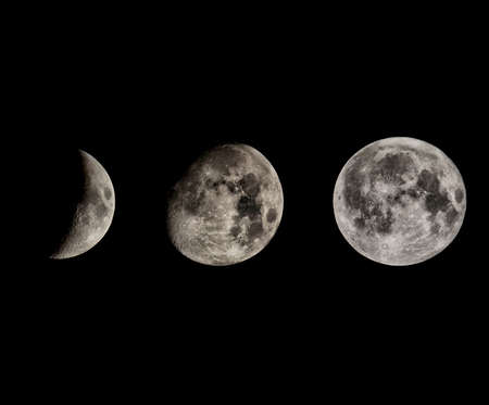 waxing gibbous: Phases of the Moon seen with telescope