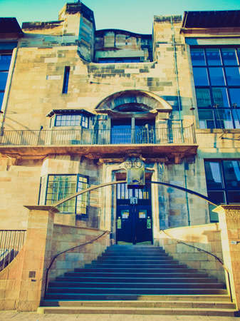 Vintage looking The Glasgow School of Art designed in 1896 by Scottish architect Charles Rennie Mackintosh, Glasgow, Scotland Editorial