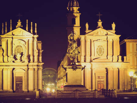 Vintage looking Piazza San Carlo in Turin (Torino), baroque architecture - at night