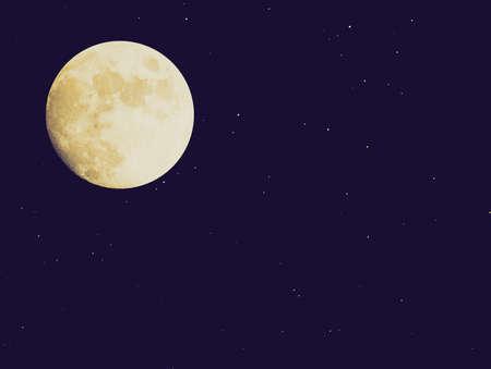 Vintage looking Full moon over dark sky with stars