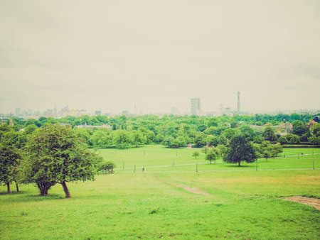 Vintage looking Primrose Hill park in London England UK photo
