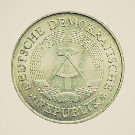 ddr: Vintage looking 1 Mark coin from the DDR (East Germany) - Note: no more in use since german reunification in 1990