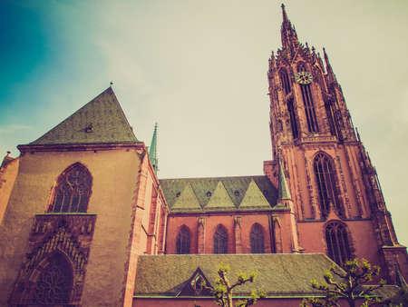 roemerberg: Vintage looking Frankfurter Dom Cathedral in Roemerberg Frankfurt am Main Germany