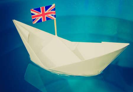 brit: Vintage looking Paper ship with Union Jack UK Flag