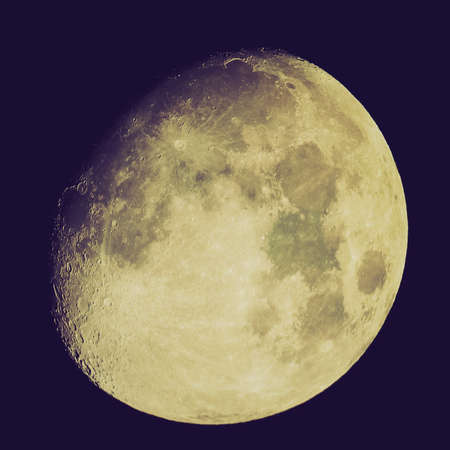 Vintage looking Moon almost full seen from the northern hemisphere with a telescope
