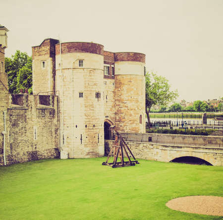 Vintage looking The Tower of London medieval castle and prison
