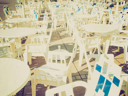 biergarten: Vintage looking Rows of chairs for outdoor dehors alfresco bar and live gig concert open air events