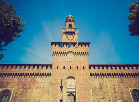 sforzesco: Vintage looking Castello Sforzesco (Sforza Castle) in Milan, Italy Editorial