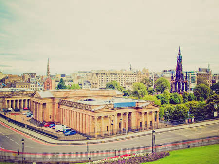 Vintage looking View of the city of Edinburgh in Scotland photo