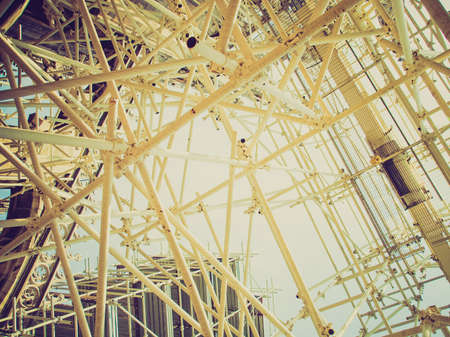 temporary: Vintage looking Temporary scaffold for construction works at building site Stock Photo