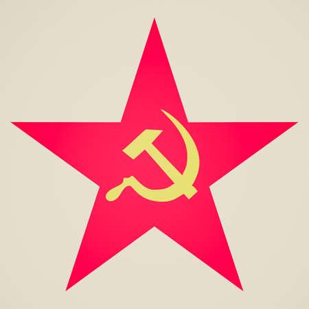 Vintage looking Communist Star illustration with hammer and sickle illustration