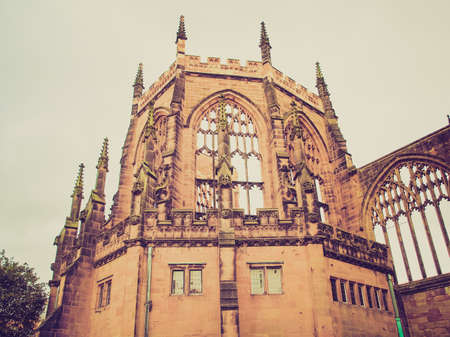 midlands: Vintage looking Ruins of bombed St Michael Cathedral, Coventry, England, UK Stock Photo