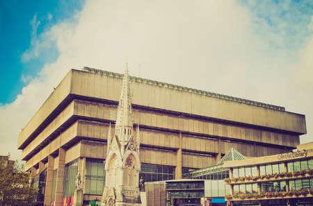 rationalism: Vintage looking Birmingham Central Library, iconic brutalist concrete building, UK Editorial