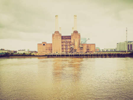 Vintage looking Battersea Power Station in London England UK