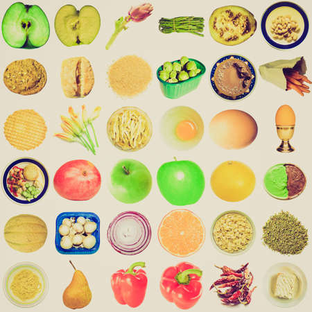Vintage looking Collage of food isolated over white background photo
