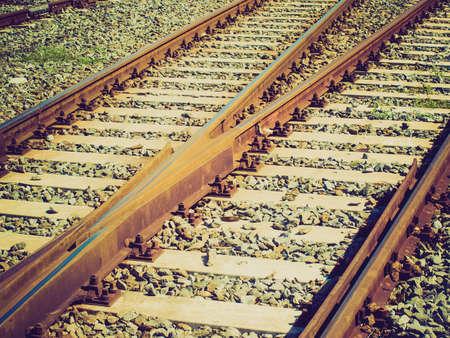 railtrack: Vintage looking Detail of railway railroad tracks for train