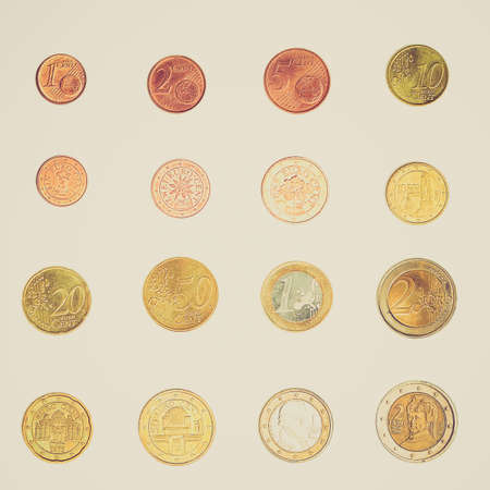 Vintage looking Euro coins including both the international and national side of Austria photo
