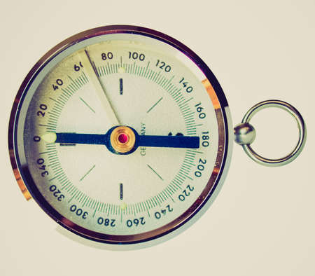 devised: Vintage looking Compass navigation instrument for finding north direction