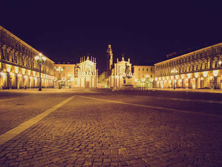 Vintage looking Piazza San Carlo in Turin (Torino), baroque architecture - at night photo
