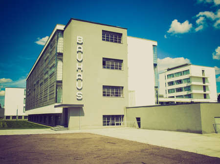 bauhaus: Vintage looking Bauhaus, Dessau (near Berlin), Germany - iconical masterpiece of modern architecture designed in 1925 by Walter Gropius