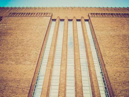 powerstation: Vintage looking Tate Modern art gallery in South Bank powerstation London England UK