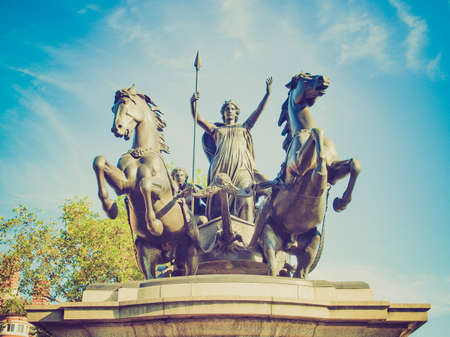 invader: Vintage looking Statue of Boadicea Boudicca Queen of the Iceni who died AD 61 after leading her people against the Roman invader in UK