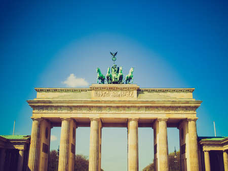 Vintage looking Brandenburger Tor (Brandenburg Gate), famous landmark in Berlin, Germany photo