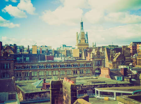 Vintage looking Aerial view of the city of Glasgow, Scotland photo