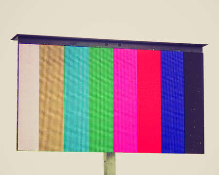 Vintage looking Colour bars television test pattern on a screen photo