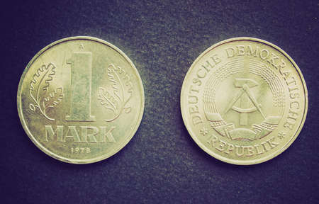 marx: Vintage looking 1 Mark coins from the DDR (East Germany) - Note: no more in use since german reunification in 1989