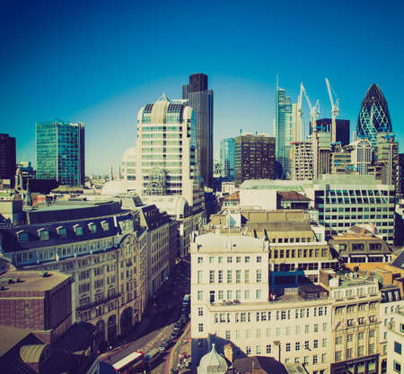 looking at view: Vintage guardando Vista della City di Londra, Inghilterra, Regno Unito Editoriali