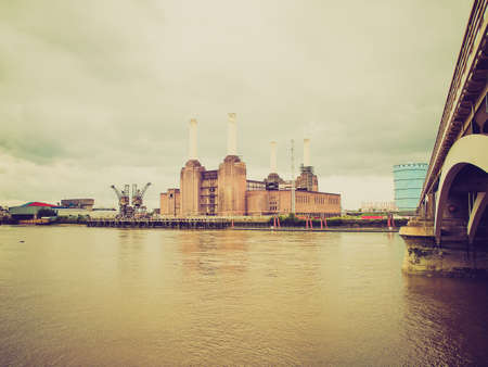 Vintage looking Battersea Power Station in London England UK photo