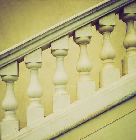 parapet wall: Vintage looking Stone baroque balaustrade as a staircase handrail